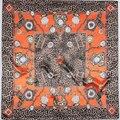 90 cm * 90 cm Envío Gratis Euro estilo H mujeres retro leopard bufandas de la marca de Reloj y La Cadena al por mayor Impresa 90 cm plaza wraps