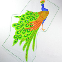 1pcs Sequin Peacock Embroidery Fabric Large Applique Patch African Lace Sew Dress Cloth Decorate Accessory Diy