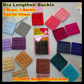 200pcs! 50*55mm Bra Lengthen Buckle,3 Rows, 4 Buckle Plating Polyester Bra Extenders,21 colors,with OPP Bag Retail Package