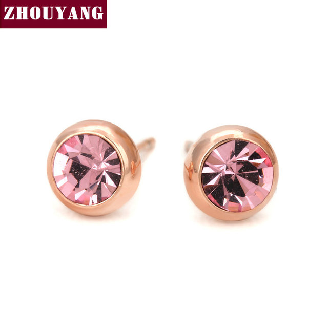 Simple Light Pink Crystal Ol Style Rose Gold Color Stud Earrings Colorful Gift For Women Men