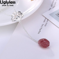 Uglyless 100% Real 925 Sterling Silver Handmade Lotus Necklaces for Women Strawberry Quartz Magnolia Pendants With Chain Chokers