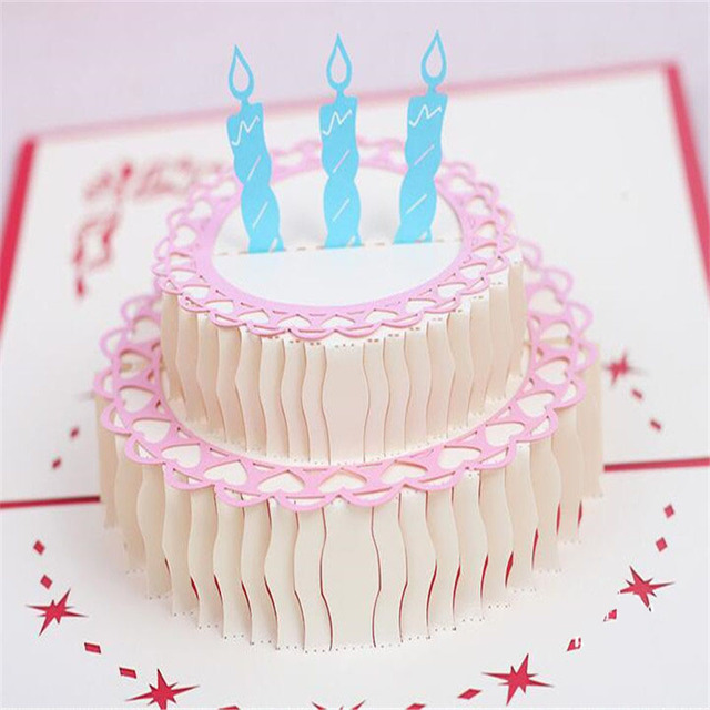 5PCS Happy Birthday Cake 3D Laser Cut Pop Up Paper Handmade Postcards Custom Greeting Cards Wishes Gifts For Lover