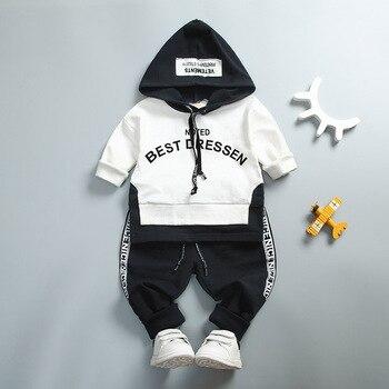 260ecefd7 Bebé niño conjunto de ropa de niña de alta calidad de algodón niños ropa de  niño carta con capucha traje para niño infantil de manga larga 1-4Years ...
