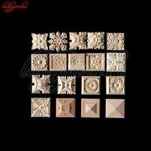 8*8CM kwiat rzeźbione w drewnie naturalne drewniane aplikacje do szafka niepomalowane drewniane listwy naklejka dekoracyjne figurki