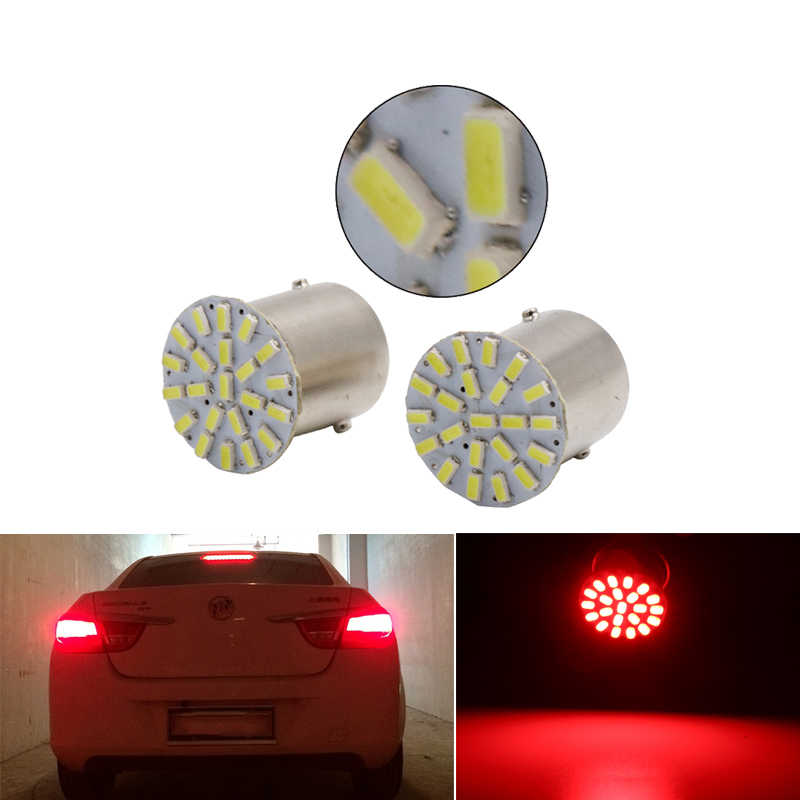 1x Auto P21W 1156 BA15S 1157 Bay15d Led-lampe Signal Licht Super Helle Auto Schalten Brems Verehrt Parkplatz Lampe Rot gelb 12V 22SMD