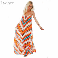 Lychee Bohemian Casual Summer Women Maxi Dress Chiffon Striped Printed Strap Sleeveles Long Beach Dress