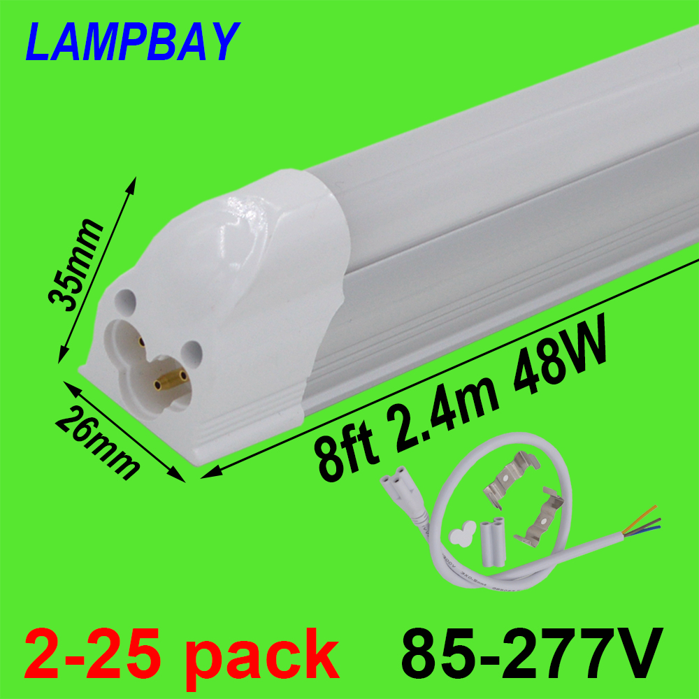 2-25pcs LED Tube Light 8ft 2.4m 40W 48W T5 Integrated Bulb Fixture with fittings 8feet Fluorescent Lamp Linkable Linear Lighting free shipping led tube t8 bulb 8ft 40w 110 277vac r17d converter replace ho fluorescent lamp light