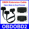 16pin Male to Dual Female OBDII OBD2 16 Pin For ELM327 Male To Dual Female Y Splitter Elbow Extension Connector Cable Free Ship