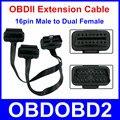 16pin OBDII OBD2 16 Pinos Macho para Dupla Feminina Para ELM327 Conector Do Cabo de Extensão masculino A Dupla Feminina Y Splitter Elbow Livre navio