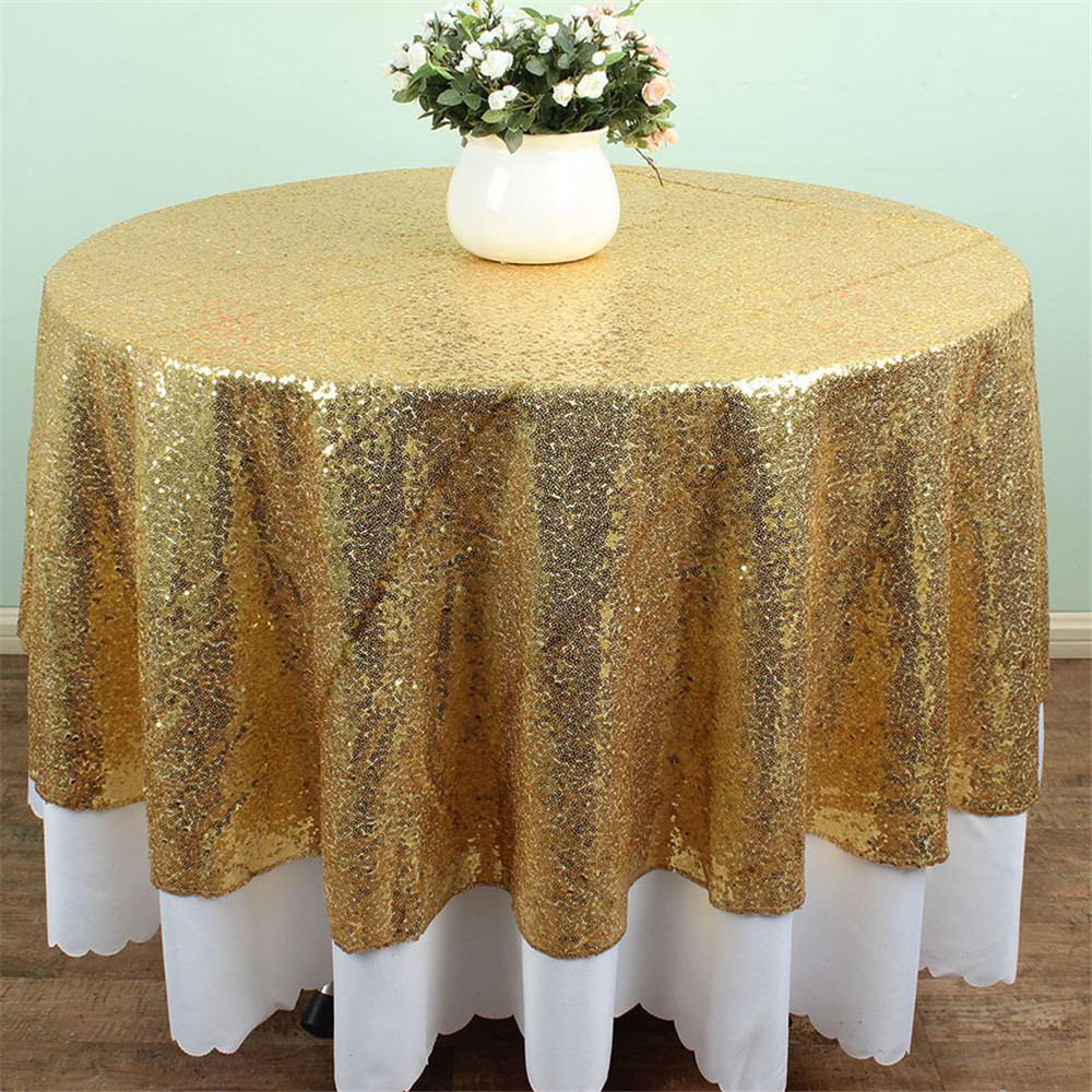 Gold Sequin Tablecloth 50 Inches Round Tablecloth Solid Table Cloth Table  Covers For Wedding Party Sequin