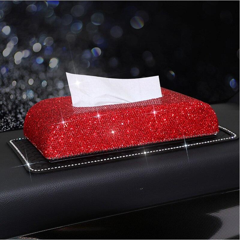 2018 Luxury Diamond Car Tissue Box Full Crystal Diamante Block type Tissue Boxes Holder Women Car