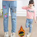 2017 new winter Korean girls jeans embroidery trousers girl Plus velvet warm Jeans Pants 3-10 year