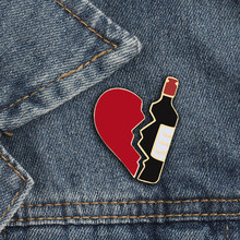 Hot sale 2pc/set bottle broken heart badge for women brooch metal pin sweater jackets skirt jewelry decoration to send her gift(China)