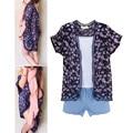 Девочек Повседневная 3 ШТ. Комплект Одежды Цветочные Блузка Жилет Джинсовой Короткой