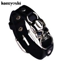 Zinc cuff charms braided rock bangles skull buckle punk alloy bracelets
