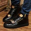 2016 Nueva Oferta Especial de Los Hombres de La Pu De Goma Primavera Marca Otoño Plus Botas Ocasionales Cómodos Zapatos de Los Planos de Los Hombres de Lujo de encaje Hasta Eu39-44