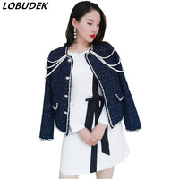 Autumn Women Pearls Crystals Coat Blue Wool Coats Winter Warm Office Lady Outwear Star Party Stage High end Luxury Clothing