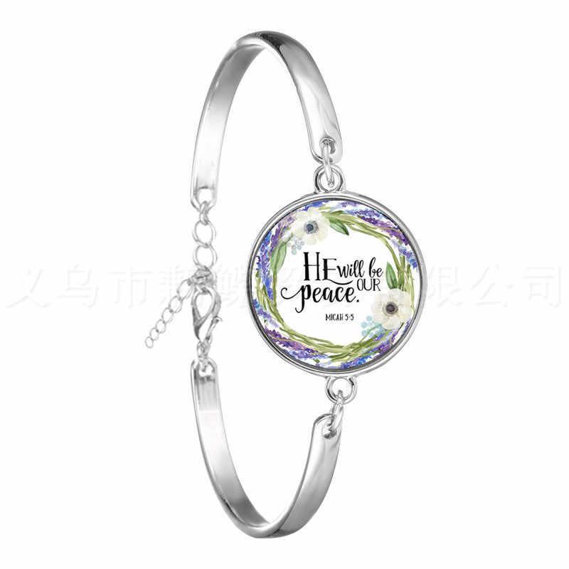 Pulsera de Salmo de moda impresión artística de imagen 18mm colgantes con cúpula de vidrio pulsera de verso de la biblia cita joyería regalo para Cristiano
