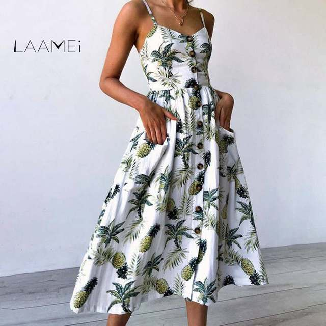 110de765d51 Laamei Summer Women Dress 2018 Vintage Sexy Bohemian Floral Tunic Beach  Dress Sundress Pocket Dress Striped Female Brand