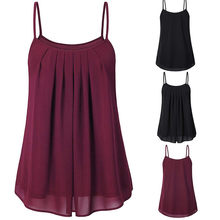 Summer Women Ladies Chiffon Loose Solid Ruched Sleeveless Tank Tops Vest Blouse Women's Sleeveless Frill Strap Chiffon Vest(China)