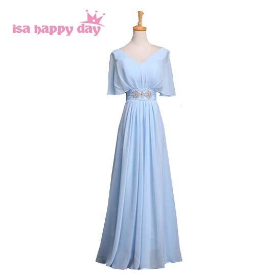 Dress Women Evening Sleeved Long-Gown Formal-Cap Chiffon Royal-Blue Red Grey B3129 Vestidos