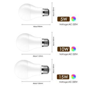 Image 2 - LED RGB لمبة E27 5 واط 10 واط 15 واط RGBW RGBWW الأضواء الملونة ديكور المنزل شريط حفلة عيد الميلاد طاولة ليلية مصباح الأشعة تحت الحمراء عن بعد 220 فولت 240 فولت