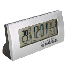 Modern Digital Alarm Clock LCD Display Calendar Snooze Thermometer Office Desktop Table