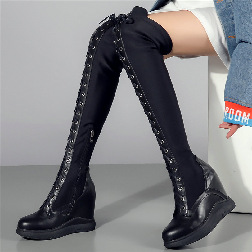 Thigh High Boots Women Genuine Leather Lace Up Knee Booties Wedges Heel Tall Shaft Punk Sneakers Winter Creepers