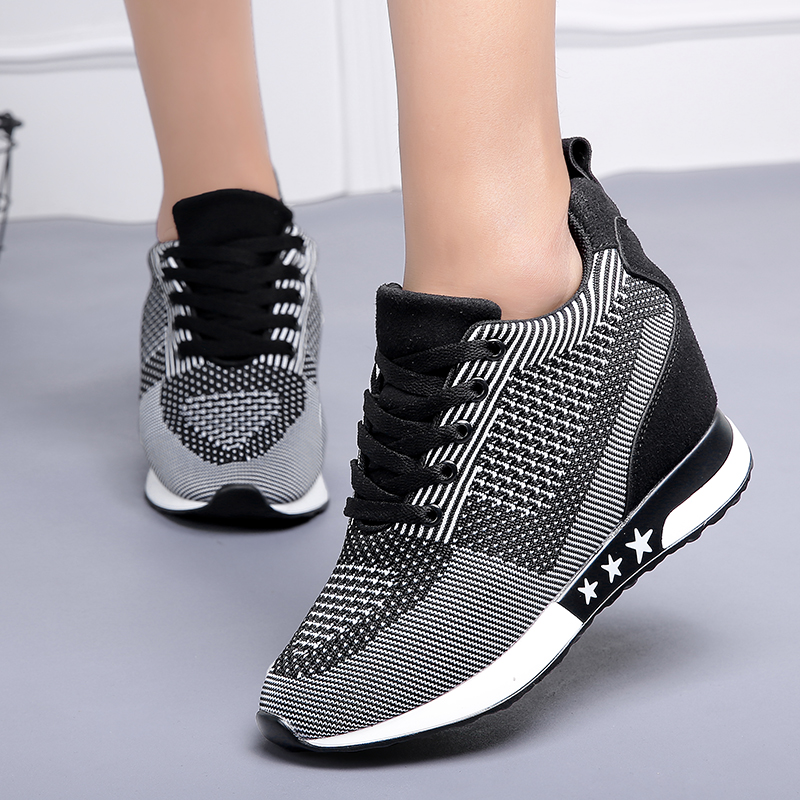 Fashion Sneakers Women Hide Heel Wedges Casual Shoes Woman Flying Knitting Breathable High Top Sneaker Shoes Women XZ115
