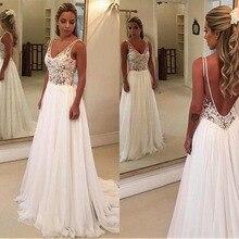 Красивые шифоновые Свадебные платья с v-образным вырезом, сексуальные трапециевидные Свадебные платья с открытой спиной, иллюзионный лиф Vestidos De Noiva