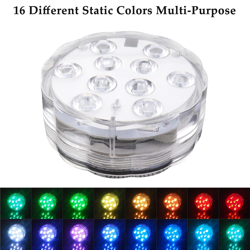LED colorful 10 lights Underwater ight Pond Submersible for Festival party Christmas decoration Swimming Pool Light 10leds rgb led underwater light pond submersible ip67 waterproof swimming pool light battery operated for wedding party