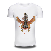 DY 205 Punk Music Style Mens T Shirts Guitar Printed Hiphop Cotton T Shirt Tops Popular