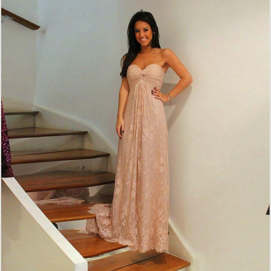 Maxi vestidos de encaje de color rosa claro de dama de honor vestidos de dama de