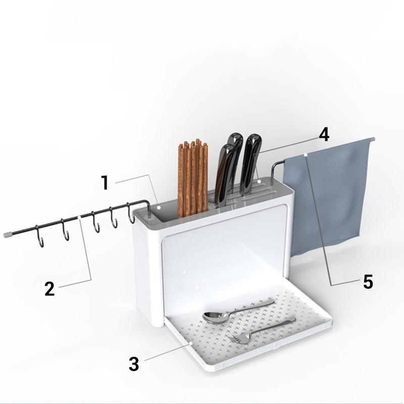 Image 2 - Cutlery Drainer with Easy Drain Spout Kitchen Storage Organizer Fork Knife Holder Spoon Chopsticks Filter Rack Knife Rack tools-in Racks & Holders from Home & Garden