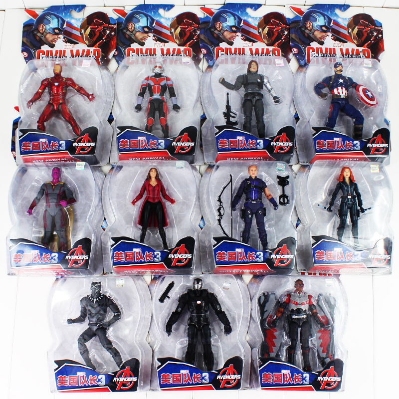 Hot Sale 15-17cm the avengers captain america iron man falcon scarlet witch black panther black widow pvc figure toys dolls marvel legends avengers civil war captain america iron man black widow black panther scarlet witch ant man pvc action figure toy