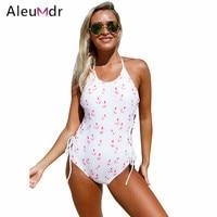 Aleumdr 2017 Bikini Frauen Badeanzug One Piece Lace up Seiten Monokini High Cut Schwimmen Beachwear Drucken Badeanzüge LC410223