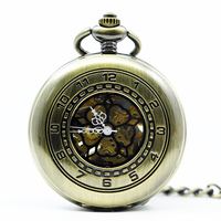 Fashion Brons/Zilveren Hand Wind Mechanische Zakhorloge Vintage Mannen Womens Horloge Nice Gift