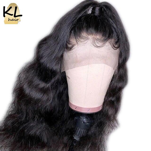 KL 360 Peruca do Laço Frontal Com o Cabelo Do Bebê da Onda Do Corpo Do Cabelo Natural Preto Brasileiro Do Cabelo Remy Parte Dianteira Do Laço Do Cabelo Humano perucas Para As Mulheres