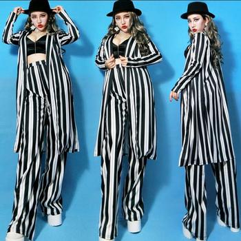 New bar jazz singer stage loaded nightclub female DJDS costumes photography clothing net red striped suit tide