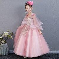 2018 Summer New Luxury Korean Sweet Children Girls Birthday Wedding Party Flowers Princess Long Dress Teens Piano Pageant Dress
