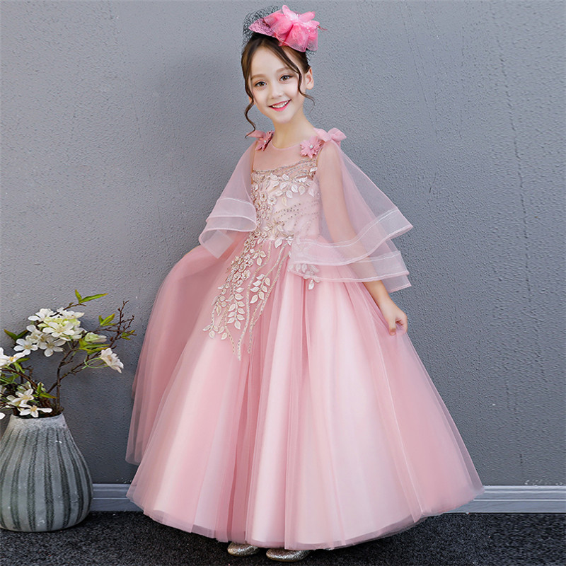 2018 Summer New Luxury Korean Sweet Children Girls Birthday Wedding Party Flowers Princess Long Dress Teens Piano Pageant Dress 2018 new korean sweet autumn summer children baby birthday wedding party prom dress kids girls pink color flowers pageant dress