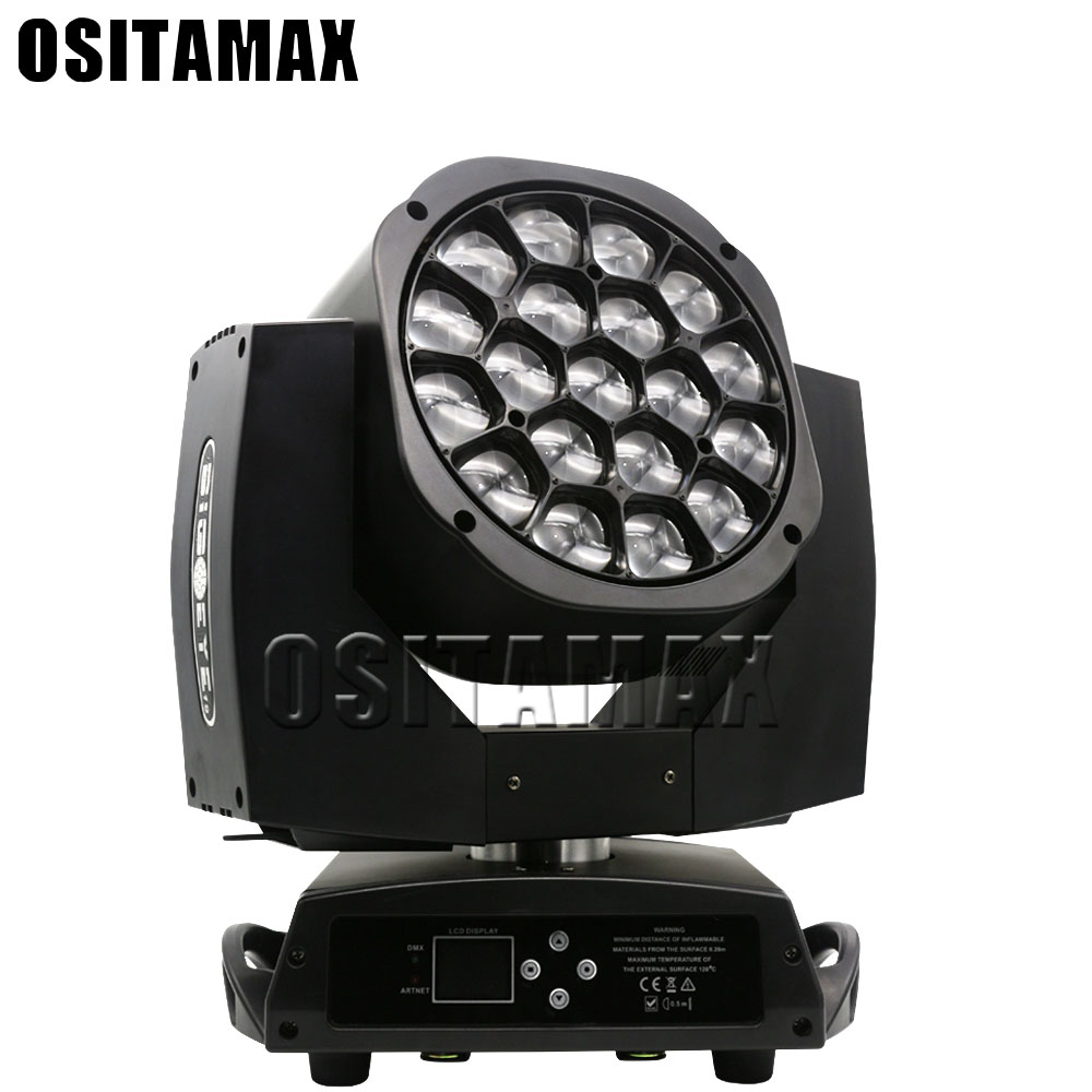 OSITAMAX-A DJ Professional Bee Eyes ZOOM Pro Stage Lighting 19x15W RGBW 4-IN-1 Disco Lyre Wash Effect Equipment