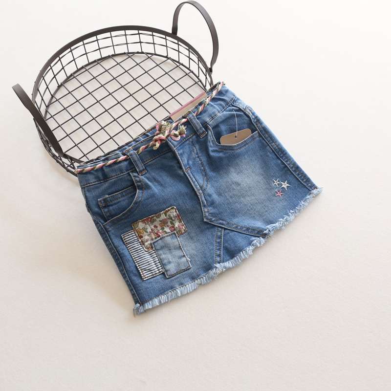 New Skirts Baby Girls Fashion Denim Skirts Child Spring Summer All-match Skirt Kids Cotton Soft Denim Skirts With Colorful Belt