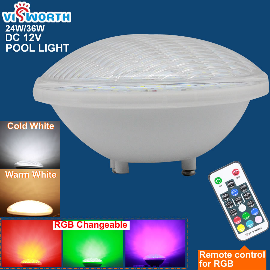 Ip68 Led Swimming Pool Light Par56 Led Waterproof Underwater Light 24W 36W RGB+Remote Controller Pond Lights AC DC 12V Piscina