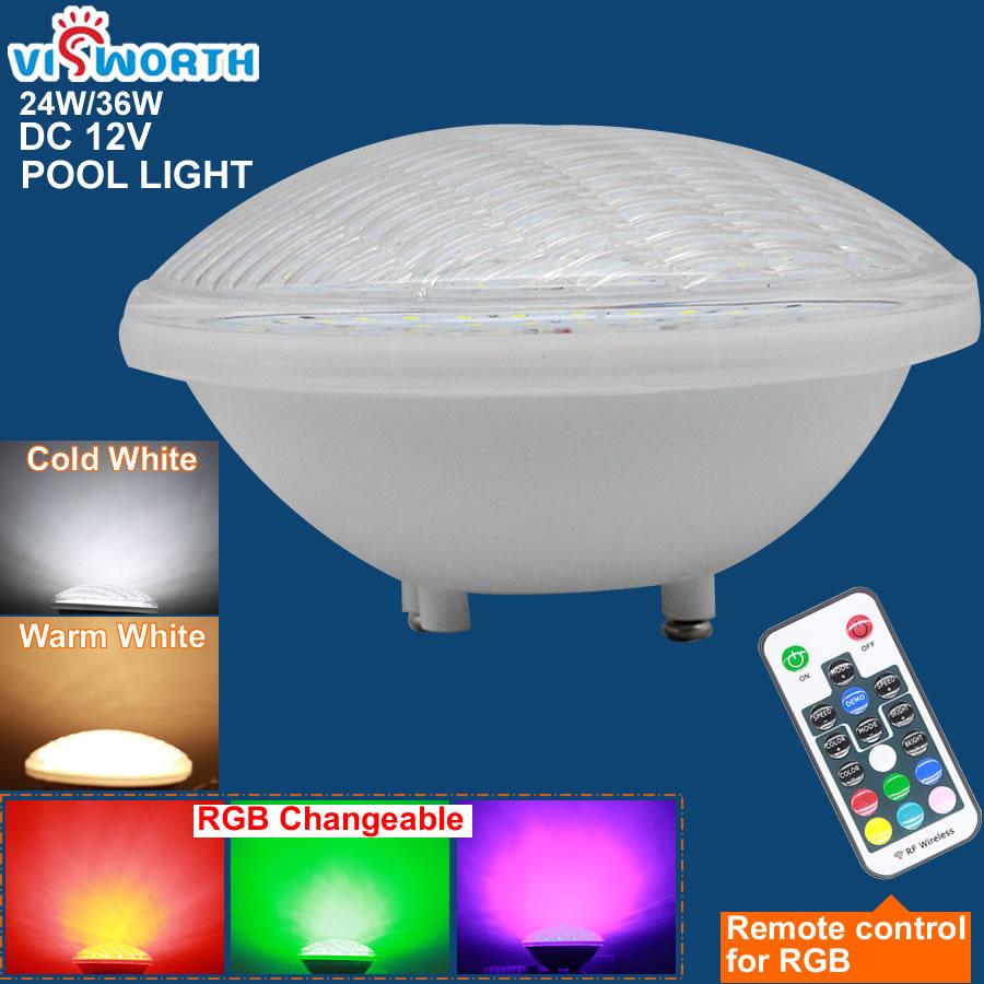 Ip68 Led Swimming Pool Light Par56 Led Waterproof Underwater Light 24W 36W RGB+Remote Controller Pond Lights AC DC 12V Piscina
