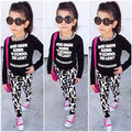Fashion Baby Kids Girls Clothes Sets Spring Summer Long Sleeve T-shirt Pullover Printed Letter Pants Outfits 2 3 4 5 6 7 Years
