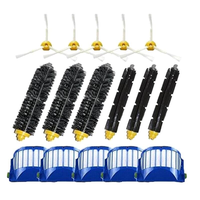 Ev Aletleri'ten Elektrikli Süpürge parçaları'de Yan fırça 3 silahlı + filtre + ana fırça değiştirme Irobot Roomba 500 600 serisi 550 595 610 620 630 650 670 Robot vakum Cl title=