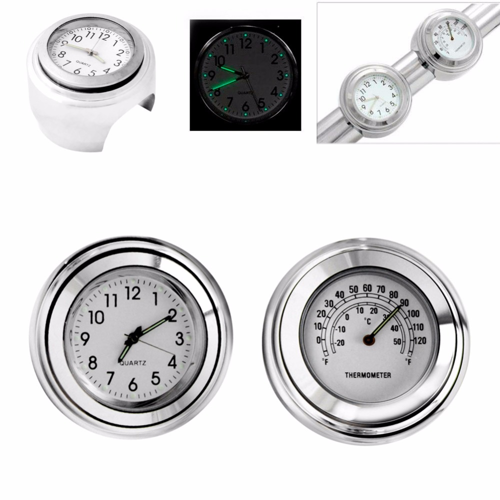 Waterproof Motorcycle Handlebar Dial Clock Thermometer For Harley 7/8 1 Handle