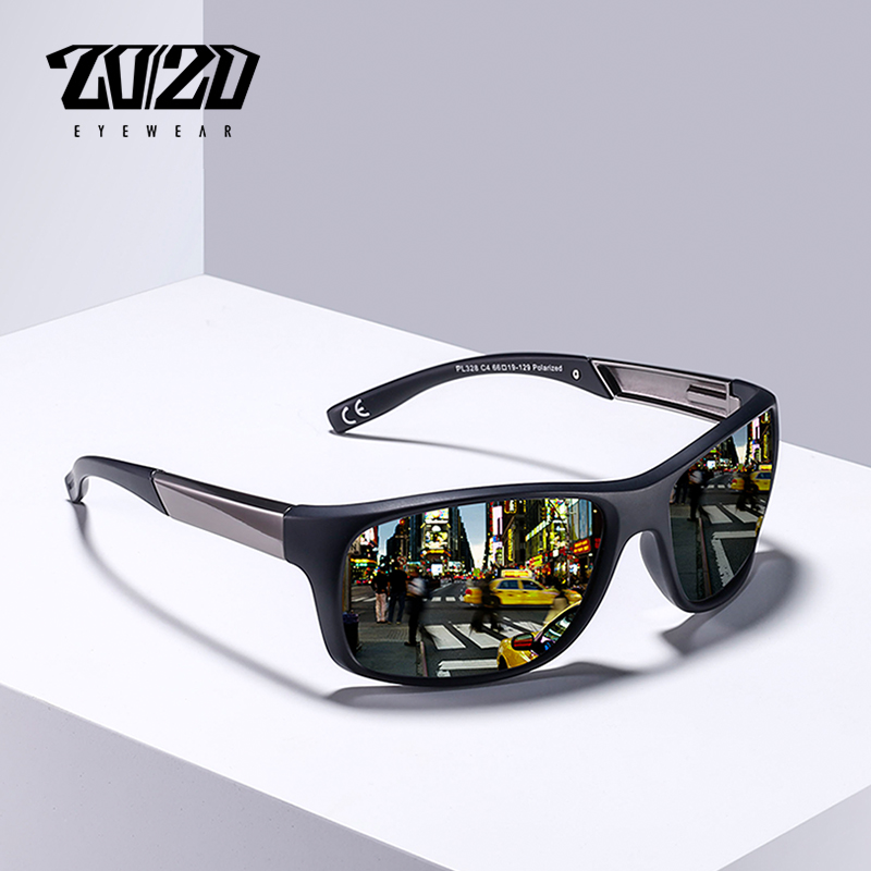 20/20 marca clásico polarizado gafas de sol hombre gafas de conducir revestimiento negro pesca conducción gafas de sol PL328