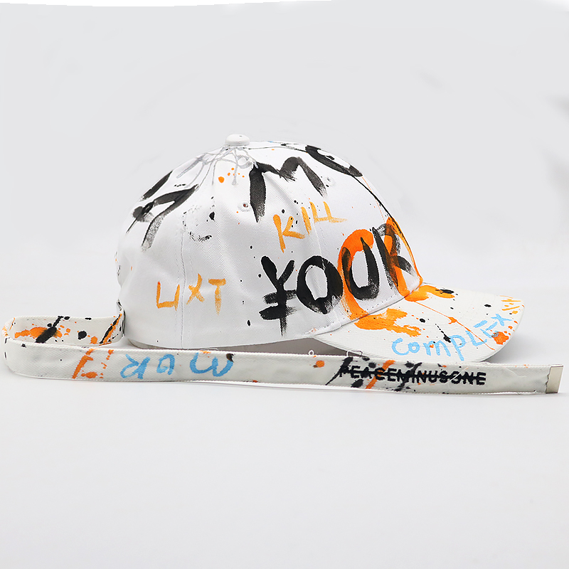 Unisex K POP   baseball     cap   with long strap BTS hat Graffiti snapback hats adjustable cotton casual   caps   all matched   cap   Panama